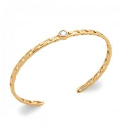 Bracelet jonc Plaqué or 18 carats et zirconium style maille chaine