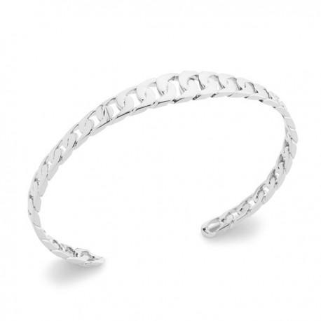 Bracelet jonc style maille chaine rigide en argent massif 925/000