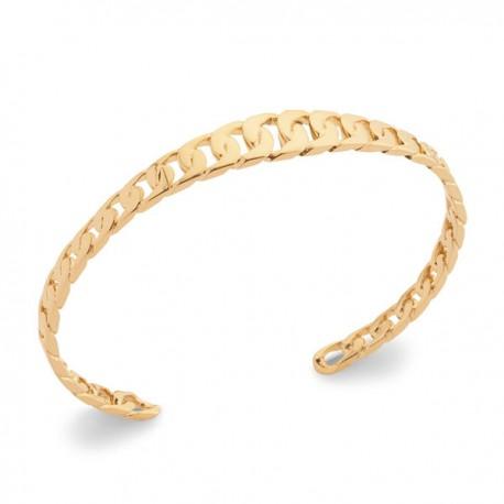 Bracelet jonc style maille chaine rigide en Plaqué Or 18 carats