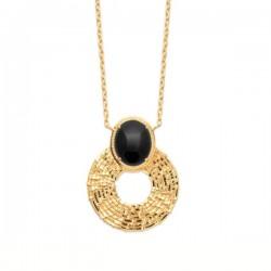 Collier Plaqué Or 18 carats pierre naturelle agate noire