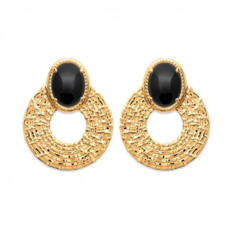 Boucles d'oreilles Plaqué Or 18 carats pierre naturelle agate noire
