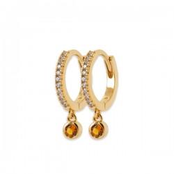 Boucles d'oreilles petites créoles plaqué or 18 pampilles couleur ambre