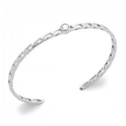 Bracelet jonc argent massif 925/000 et zirconium style maille chaine