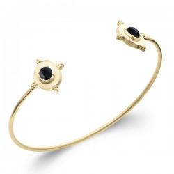 Bracelet jonc Plaqué Or 18 carats pierre naturelle agate noire