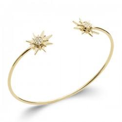 Bracelet jonc Plaqué Or 18 carats étoiles zirconiums