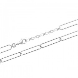 Bracelet maille rectangulaire tendance trombone argent massif 925/000