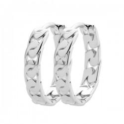 Boucles d'oreilles créoles ovales motif chaine argent massif 925/000