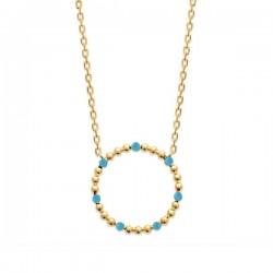 Collier Plaqué Or 18 carats cercle émail bleu turuoise