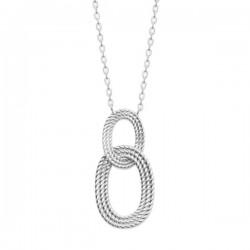 Collier argent massif 925/000 pendentif anneaux ovales entrelacés