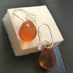 Boucles d'oreilles Argent 925/000 gouttes en verre ambré