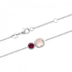 Bracelet argent massif 925/000 pierres véritables ton rose