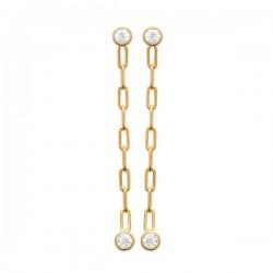 Boucles d'oreilles chainettes Plaqué Or 18 carats et zirconium