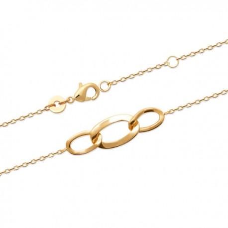Bracelet Plaqué Or 18 carats maillons entrelacés tendance chaine