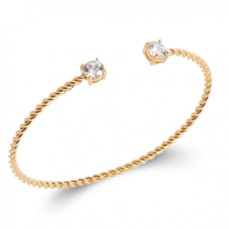 Bracelet jonc tressé en plaqué or 18 carats et zirconium