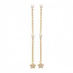 Boucles d'oreilles chainettes étoiles Plaqué Or 18 carats et zirconium