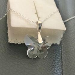Collier pendentif papillon cristal swarovski sur chaine argent 925/000
