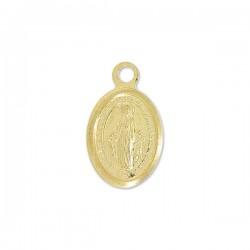 Pendentif petite médaille vierge Marie argent 925plaqué or 18 carats