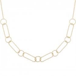 Duo collier + bracelet Plaqué Or 18 carats gros maillons largeur 11 mm