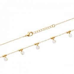 Bracelet Plaqué Or 18 carats pampilles pierres naturelles quartz rose