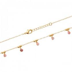 Bracelet Plaqué Or 18 carats pampilles pierres naturelles tourmaline rose