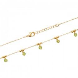 Bracelet Plaqué Or 18 carats pampilles pierres naturelles péridot
