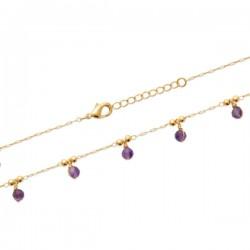 Bracelet Plaqué Or 18 carats 5 pampilles pierres naturelles améthyste