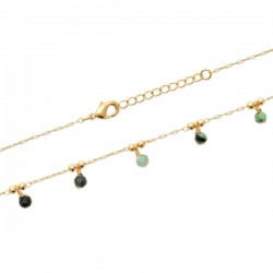 Bracelet Plaqué Or 18 carats 5 pampilles pierres naturelles rubis zoïsite