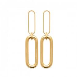 Boucles d'oreilles Plaqué Or 18 carats pendantes maillons chaine