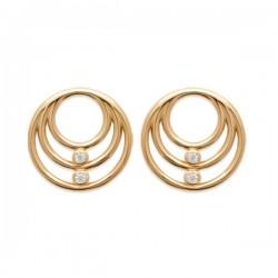 Boucles clous d'oreilles cercles Plaqué Or 18 carats et zirconium