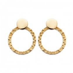Boucles d'oreilles cercles travaillés en plaqué or 18 carats