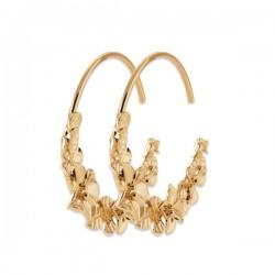 Boucles d'oreilles créoles fleurs Plaqué Or 18 carats Bijou Nature