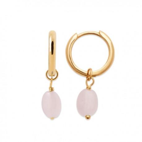 Boucles d'oreilles Plaqué or 18 carats créoles pendantes quartz rose