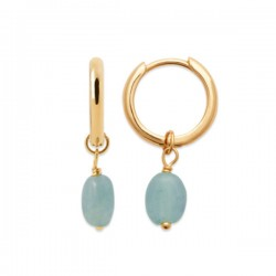 Boucles d'oreilles Plaqué Or 18 carats pendants pierres amazonite