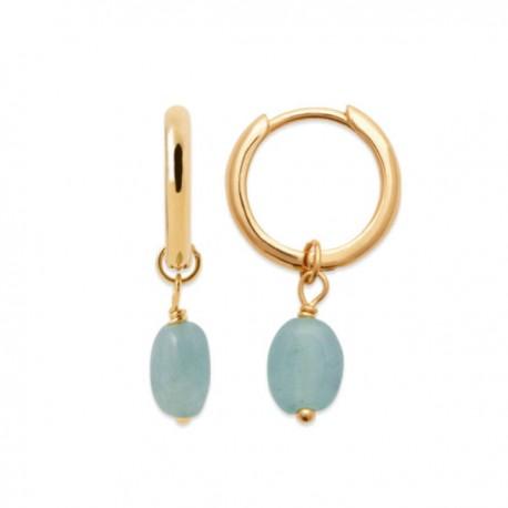 Boucles d'oreilles Plaqué Or 18 carats pendants pierres amazonite