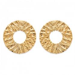 Boucles d'oreilles Plaqué Or 18 carats cercles travaillés