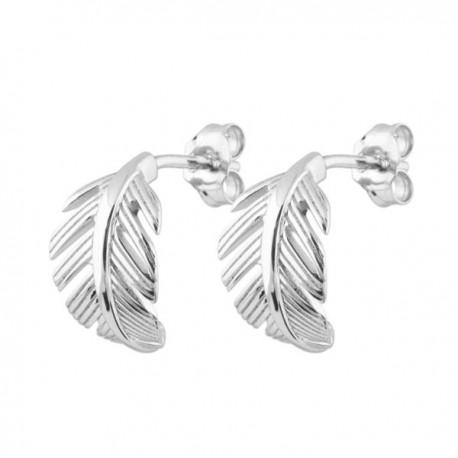 Boucles d'oreilles plumes argent massif 925/000 rhodié Bijou nature