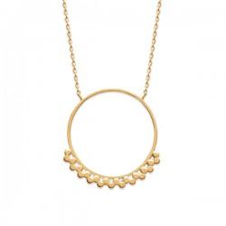 Collier Plaqué Or 18 carats pendentif anneau décoré