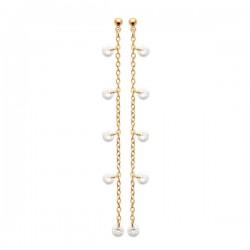 Boucles d'oreilles chainettes Plaqué Or 18 carats pampilles zirconium