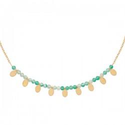 Collier Plaqué Or 18 carats pampilles et perles pierre naturelle calcédoine