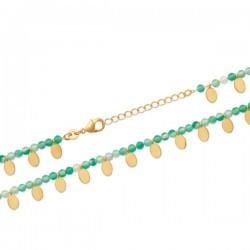 Bracelet Plaqué Or 18 carats pampilles et pierre naturelle calcédoine