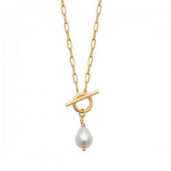 Collier Plaqué Or 18 carats fermoir T perle de culture d'eau douce Biwa