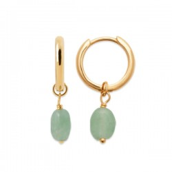 Boucles d'oreilles Plaqué Or 18 carats pendantes quartz vert