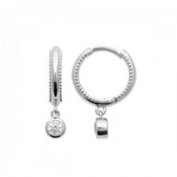Boucles d'oreilles créoles argent massif 925/000 pendants zirconium