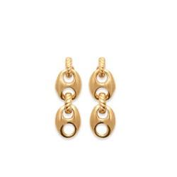 Boucles d'oreilles pendantes grains de café en Plaqué Or 18 carats