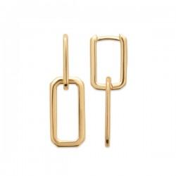 Boucles d'oreilles Plaqué Or 18 carats pendantes maillons de chaine