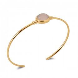Bracelet jonc Plaqué Or 18 carats pierre naturelle quartz rose
