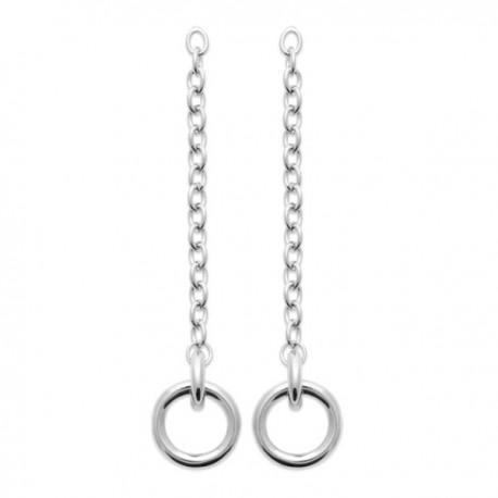 Boucles d'oreilles argent massif 925/000 pendantes chainettes anneaux