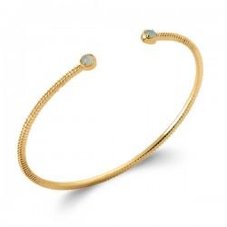 Bracelet jonc Plaqué Or 18 carats pierre naturelle agate bleue