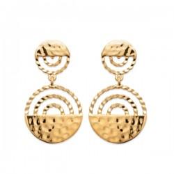Boucles d'oreilles pendantes en plaque or 18 carats