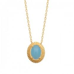 Collier Plaqué Or 18 carats pierre naturelle agate bleue